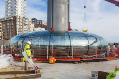 Fin du montage de la plateforme panoramique British Airways i360 sur le site de Brighton